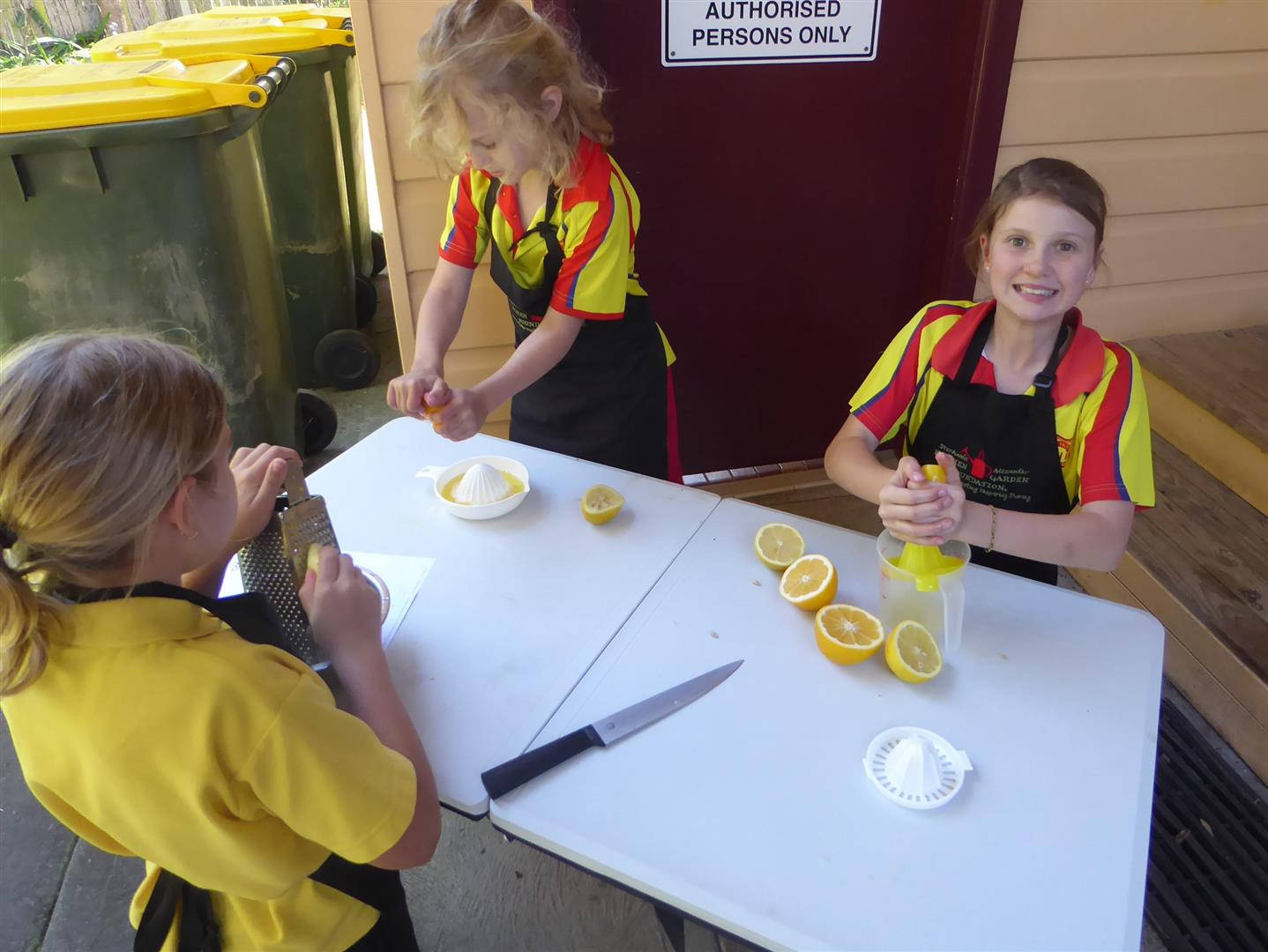 Girls preparing lemon curd